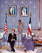 United States Secretary of Defense William S. Cohen meets with Minister of Defense Shaykh Salim al Sabah al Salim Al Sabah of the State of Kuwait, prior to their joint press conference in Kuwait City, Kuwait on February 9, 1998.<br /> Mandatory Credit: Helene C. Stikkel / DoD via CNP
