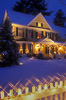 AJ5804, Inn, country inn, B&B, Hotel, resort, decorations, evening, Christmas, holiday, snow, winter, The Jackson House Inn (a Country Inn) is decorated with white lights for the Christmas holiday season in the evening in West Woodstock in Windsor County in the state of Vermont.