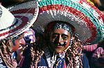 Solola fiesta, Guatemala, central America, Dancers wear masks of Spanish colonisers.