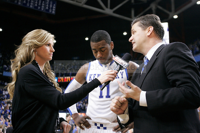 UK head coach John Calipari and John Wall are interviewed after playing Tennessee at Rupp Arena on Saturday, Feb. 13, 2010. Photo by Scott Hannigan | Staff