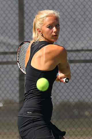 Denton, TX - SEPTEMBER 19: North Texas Mean Green tennis team member Emelia Box in action at Waranch Tennis Center on the campus of University of North Texas in Denton on September 19, 2012 in Denton, Texas. (Photo by Rick Yeatts)