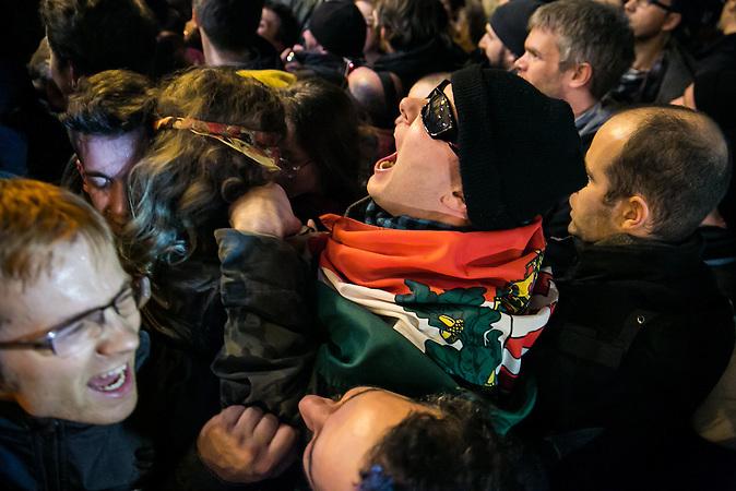 Protestkundgebung gegen die Regierung Orban in der ungarischen Hauptstadt Budapest am 17. November 2014.