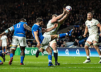 George Kruis of England charges down the box kick from Tito Tebaldi of Italy that leads to the Brad Shields of England's 2nd try during the Guinness Six Nations match between England and Italy at Twickenham Stadium on March 9th, 2019 in London, United Kingdom. Photo by Liam McAvoy.