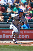 Jake Bauers (11) of the Durham Bulls starts down the first base line during the game against the Lehigh Valley Iron Pigs at Coca-Cola Park on July 30, 2017 in Allentown, Pennsylvania.  The Bulls defeated the IronPigs 8-2.  (Brian Westerholt/Four Seam Images)