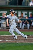 Colton Welker (12) of the Grand Junction Rockies follows through on his swing against the Ogden Raptors during the Pioneer League game at Lindquist Field on August 24, 2016 in Ogden, Utah. The Raptors defeated the Rockies 11-10. (Stephen Smith/Four Seam Images)