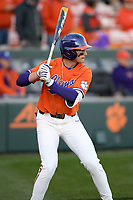 Center fielder Bryce Teodosio (13) of the Clemson Tigers bats in a game against the Stony Brook Seawolves on Friday, February 21, 2020, at Doug Kingsmore Stadium in Clemson, South Carolina. Clemson won, 2-0. (Tom Priddy/Four Seam Images)