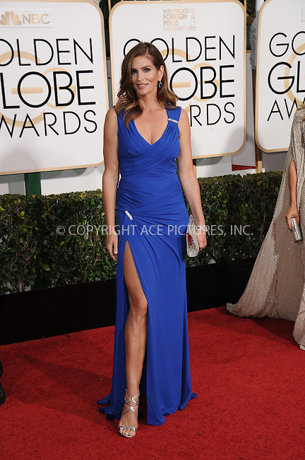 WWW.ACEPIXS.COM<br /> <br /> January 11 2015, LA<br /> <br /> Cindy Crawford arriving at the 72nd Annual Golden Globe Awards at The Beverly Hilton Hotel on January 11, 2015 in Beverly Hills, California. <br /> <br /> <br /> By Line: Peter West/ACE Pictures<br /> <br /> <br /> ACE Pictures, Inc.<br /> tel: 646 769 0430<br /> Email: info@acepixs.com<br /> www.acepixs.com