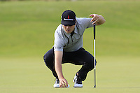 Zach Johnson (USA) lines up his ball on the 14th green during Thursday's Round 1 of the 145th Open Championship held at Royal Troon Golf Club, Troon, Ayreshire, Scotland. 14th July 2016.<br /> Picture: Eoin Clarke | Golffile<br /> <br /> <br /> All photos usage must carry mandatory copyright credit (&copy; Golffile | Eoin Clarke)