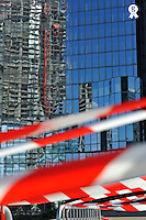 Reflection of Skyscraper under construction (Licence this image exclusively with Getty: http://www.gettyimages.com/detail/95794836 )