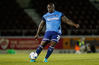 Adebayo Akinfenwa of Wycombe Wanderers warms up at the half time break during The Checkatrade Trophy match between Northampton Town and Wycombe Wanderers at Sixfields Stadium, Northampton, England on 30 August 2016. Photo by David Horn / PRiME Media Images.
