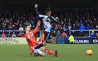 Olly Lee of Luton Town fouls Paris Cowan-Hall during the Sky Bet League 2 match between Wycombe Wanderers and Luton Town at Adams Park, High Wycombe, England on 6 February 2016. Photo by Liam Smith.