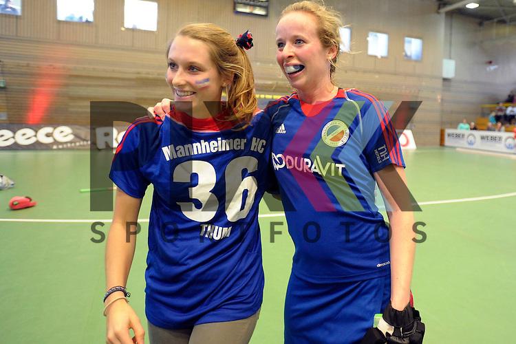 GER - Luebeck, Germany, February 06: After the 1. Bundesliga Damen indoor hockey semi final match at the Final 4 between Rot-Weiss Koeln (white) and Mannheimer HC (blue) on February 6, 2016 at Hansehalle Luebeck in Luebeck, Germany. Final score 1-2 (HT 0-2).   (L-R) Cecile Pieper, Greta Lyer #10 of Mannheimer HC<br /> <br /> Foto &copy; PIX-Sportfotos *** Foto ist honorarpflichtig! *** Auf Anfrage in hoeherer Qualitaet/Aufloesung. Belegexemplar erbeten. Veroeffentlichung ausschliesslich fuer journalistisch-publizistische Zwecke. For editorial use only.