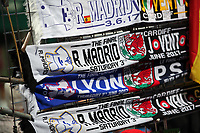 Pictured: Real Madrid v Juventus scarves for sale in Queen Street Thursday 25 May 2017<br />Re: Preparations for the UEFA Champions League final, between Real Madrid and Juventus in Cardiff, Wales, UK.