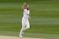 Jamie Porter of Essex celebrates taking the wicket of Heino Kuhn during Kent CCC vs Essex CCC, Friendly Match Cricket at The Spitfire Ground on 27th July 2020