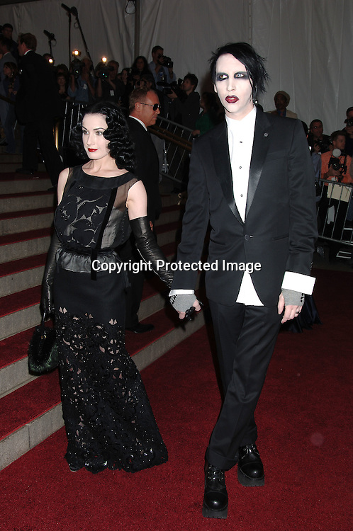 Marilyn Manson and wife Dita Von Teese..arriving to the Costume Institute Gala celebrating AngloMania on May 1, 2006 at The Metropolitan Museum of ..Art. ..Robin Platzer, Twin Images..
