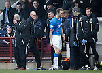 Ally McCoist holds his head in his hands as Jon Daly is taken off with a hamstring injury