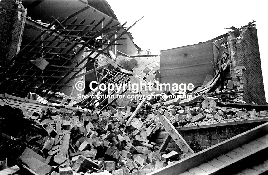 Scene following explosion at the home of Frank Gogarty in Fortwilliam Park, Belfast, N Ireland. Mr Gogarty is a prominent member of the N Ireland Civil Rights Association, NICRA. Neither Mr Gogarty or any member of his family were at home at the time. 17th October 1972. 197210170622b.<br />