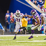 19 October 2014: Buffalo Bills cornerback Leodis McKelvin returns a kickoff during the second quarter against the Minnesota Vikings at Ralph Wilson Stadium in Orchard Park, NY. The Bills defeated the Vikings 17-16 in a dramatic, last minute, comeback touchdown drive. Mandatory Credit: Ed Wolfstein Photo *** RAW (NEF) Image File Available ***