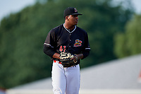 Batavia Muckdogs pitcher Alberto Guerrero (41) gets ready to deliver a pitch during a game against the West Virginia Black Bears on July 2, 2018 at Dwyer Stadium in Batavia, New York.  West Virginia defeated Batavia 3-1.  (Mike Janes/Four Seam Images)