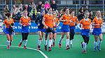 HUIZEN - Hockey - teleurstelling na afloop bij Bloemendaal; vlnr Sterre Bregman (Bldaal), Merel Aarts (Bldaal) , Sophie Schlatmann (Bldaal) , Nine Rijna (Bldaal) , Fee Schreuder (Bldaal) , Carmel Bosch (Bldaal)  , Noor Smit (Bldaal) , Philine de Nooijer (Bldaal) , Laurien Boot (Bldaal) Hoofdklasse hockey competitie, Huizen-Bloemendaal (2-1) . COPYRIGHT KOEN SUYK