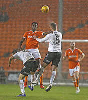 Blackpool's Armand Gnanduillet battles with Charlton Athletic's Krystian Bielik (left) and Patrick Bauer<br /> <br /> Photographer Stephen White/CameraSport<br /> <br /> The EFL Sky Bet League One - Blackpool v Charlton Athletic - Saturday 8th December 2018 - Bloomfield Road - Blackpool<br /> <br /> World Copyright &copy; 2018 CameraSport. All rights reserved. 43 Linden Ave. Countesthorpe. Leicester. England. LE8 5PG - Tel: +44 (0) 116 277 4147 - admin@camerasport.com - www.camerasport.com