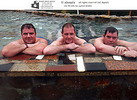 Paul Gascoige, father John and Jimmy five bellies Gardener in a hot spring, training and on coach in Qingyuan in Guangdong Province, China.