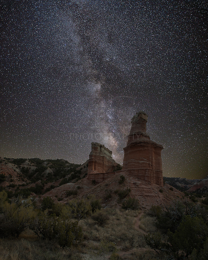 On a calm night in the middle of the Texas Panhandle, the Milky Way looms over the Lighthouse. This famous landmark is part of the amazing rock formations that make up Palo Duro Canyon State Park. It is a 3 mile easy walk to this point. I stayed out late to capture a few night-time images before making my way back. It was a beautiful experience.