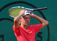 Netherlands, Dordrecht, August 03, 2015, Tennis,  National Junior Championships, NJK, TV Dash 35, <br /> Ids Waterbolk reacts<br /> Photo: Tennisimages/Henk Koster