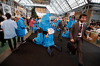 Activists demonstrating in the conference center. United Nations Climate Change Conference (COP15) was held at Bella Center in Copenhagen from the 7th to the 18th of December, 2009. A great deal of groups tried to voice their opinion and promote their cause in various ways. .©Fredrik Naumann/Felix Features.