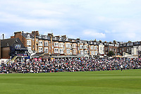 A bumper crowd on the terrace during Yorkshire CCC vs Essex CCC, Specsavers County Championship Division 1 Cricket at Scarborough CC, North Marine Road on 6th August 2017