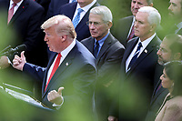 President Donald Trump declares a national emergency due to the COVID-19 coronavirus pandemic in the Rose Garden of the White House on March 13, 2020 in Washington, DC.<br /> Credit: Oliver Contreras / Pool via CNP/AdMedia