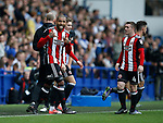 Leon Clarke of Sheffield Utd celebrates scoring the second goal during the Championship match at the Hillsborough Stadium, Sheffield. Picture date 24th September 2017. Picture credit should read: Simon Bellis/Sportimage