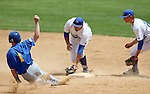 SIOUX FALLS, SD - MAY 23:  Mitch Foster #1 from South Dakota State slides into second as Kristian Gayday #32 from IPFW can't come up with the ball in the eighth inning of their game Friday at the Summit League Baseball Championship at the Sioux Falls Stadium. (Photo by Dave Eggen/Inertia)
