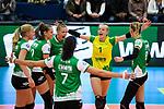05.10.2019, Halle Berg Fidel, Muenster<br />Volleyball, Bundesliga Frauen, Normalrunde, USC MŸnster / Muenster vs. Allianz MTV Stuttgart<br /><br />Jubel Demi Johanna Marijke Korevaar (#6 Muenster), Sarah Emma van Aalen (#10 Muenster), Luisa Keller (#3 Muenster), Ivana Vanjak (#7 Muenster), Linda Bock (#1 Muenster), Lina Alsmeier (#8 Muenster)<br /><br />  Foto © nordphoto / Kurth