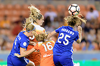 Houston, TX - Wednesday June 28, 2017: Morgan Brian heads the ball towards the Boston goal during a regular season National Women's Soccer League (NWSL) match between the Houston Dash and the Boston Breakers at BBVA Compass Stadium.