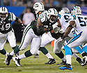 BRANDON MOORE, of the New York Jets in action during the Jets game against the Carolina Panthers  at Bank of America Stadium in Charlotte, N.C.  on August 21, 2010.  The Jets beat the Panthters 9-3 in the second week of preseason games...