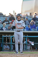 Kyle Gaedele (24) of the Lake Elsinore Storm bats during a game against the Lancaster JetHawks at The Hanger on May 9, 2015 in Lancaster, California. Lancaster defeated Lake Elsinore, 3-1. (Larry Goren/Four Seam Images)