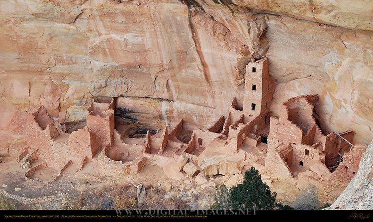 Square Tower House Cliff Dwelling, Anasazi Hisatsinom Ancestral Pueblo Site, Navajo Canyon, Mesa Verde National Park, Colorado