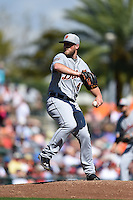 Detroit Tigers pitcher Ian Krol (46) during a Spring Training game against the Baltimore Orioles on March 4, 2015 at Ed Smith Stadium in Sarasota, Florida.  Detroit defeated Baltimore 5-4.  (Mike Janes/Four Seam Images)