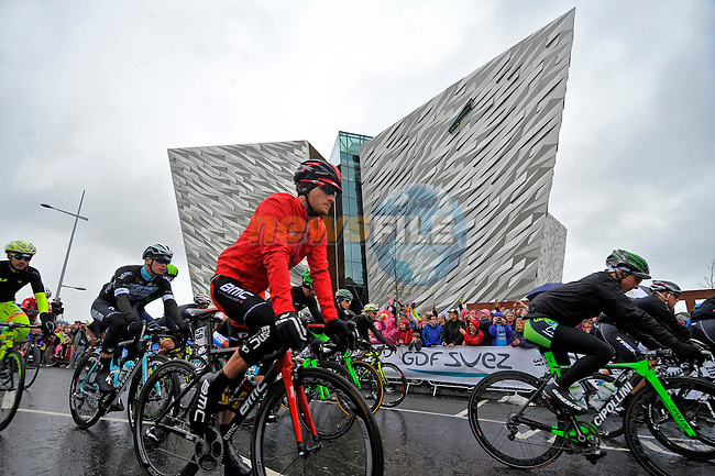 Riders roll out at the Titanic Quarter to the start of the 2nd stage of the 2014 Giro d'Italia 219km around the Causeway coastline running from Belfast to Belfast.10th May 2014.<br /> Picture: Gian Mattia D'Alberto/LaPresse/www.newsfile.ie