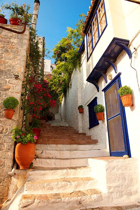 Narrow streets & houses of Hydra,Greek Saronic Islands