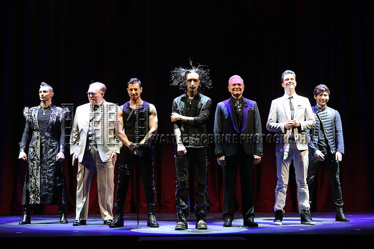 Aaron Crow, Kevin James, Jeff Hobson, Dan Sperry, Andrew Basso, Adam Trent and Yu Ho-Jin  performing in a press preview of 'The Illusionists' at Mariott Marquis Theatre on December 2, 2014 in New York City.