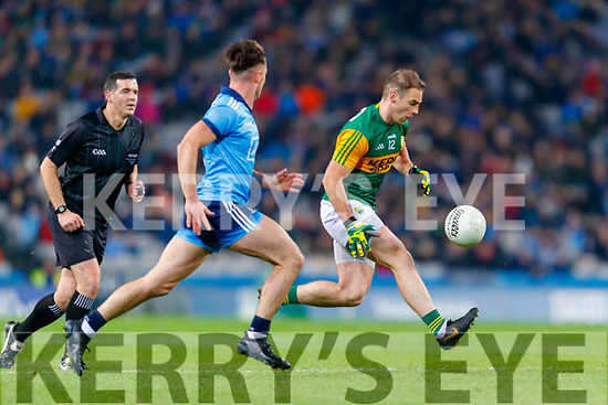 Stephen O'Brien, Kerry in action against Eric Lowndes, Dublin during the Allianz Football League Division 1 Round 1 match between Dublin and Kerry at Croke Park on Saturday.