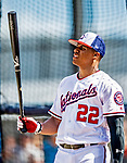 21 February 2019: Washington Nationals outfielder Juan Soto awaits his turn in the batting cage up during a Spring Training workout at the Ballpark of the Palm Beaches in West Palm Beach, Florida. Mandatory Credit: Ed Wolfstein Photo *** RAW (NEF) Image File Available ***