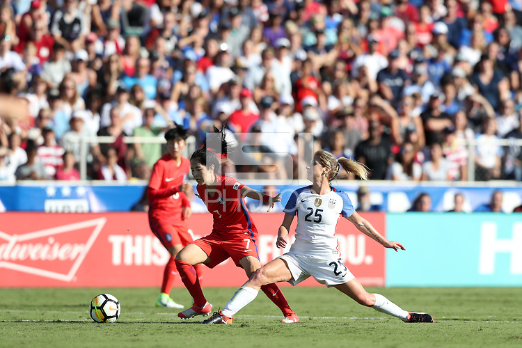 Cary, NC - Sunday October 22, 2017: Lee Mina and McCall Zerboni during an International friendly match between the Women's National teams of the United States (USA) and South Korea (KOR) at Sahlen's Stadium at WakeMed Soccer Park. The U.S. won the game 6-0.