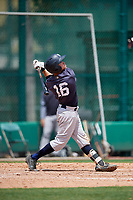 GCL Yankees West designated hitter Matt Pita (16) follows through on a swing during the first game of a doubleheader against the GCL Braves on July 30, 2018 at Champion Stadium in Kissimmee, Florida.  GCL Yankees West defeated GCL Braves 7-5.  (Mike Janes/Four Seam Images)