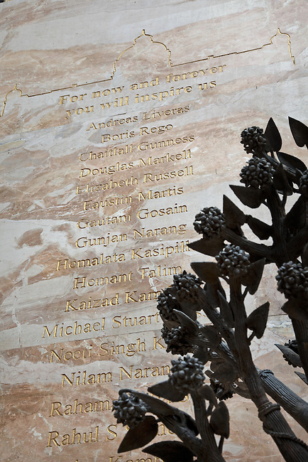 MUMBAI, INDIA - SEPTEMBER 27, 2010: The memorial to the people killed in the 26/11 terror attacks in the Taj Mahal Palace and Tower Hotel in Mumbai. The hotel  has re-opened after the terror attacks of 2008 destroyed much of the heritage wing. The wing has been renovated and the hotel is once again the shining jewel of Mumbai. pic Graham Crouch