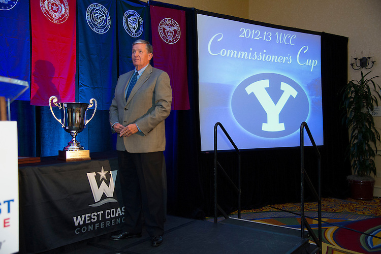 June 5, 2013; Napa, CA, USA; BYU Cougars university president Cecil O. Samuelson with the Commissioner's Cup during the WCC Honors Dinner at the Napa Valley Marriott.