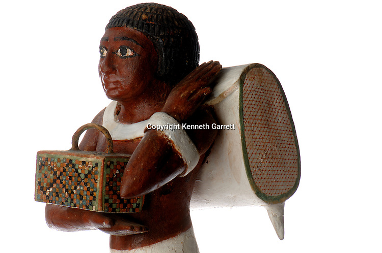 Porter statue, Niankh Pepi, 6th Dynasty, Old Kingdom, Pepi II, plaster & painted wood, from tomb at Meir, The Egyptian Museum, Cairo, mm7454. Black Pharaohs, Nubians, Egypt