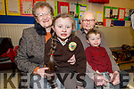 Michaela and Jack Moynihan with grandparents Sean Moynihan and Marie O'Sullivan at the Gaelscoil Mhic Easmainn Grandparents day on Thursday